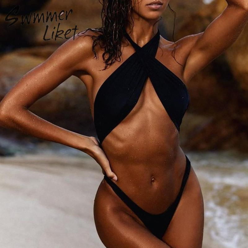 Extreme Micro monokini 2019 Hollow out Halter swimwear female High cut bodysuits one-piece swimsuit women Brazilian thong bikini
