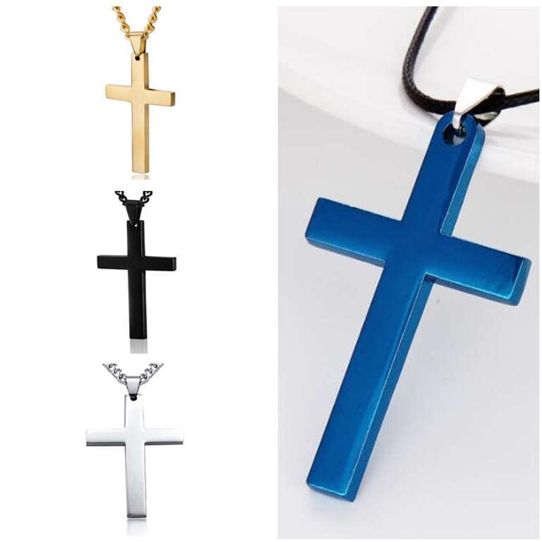 Christian Titanium Steel Single Single Gloss Cross Collar de Joyería Hombre Colgante DJN584 Pedido Mezcla Collares Collares Joyería