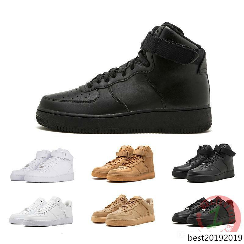 Clásico forzado alta bajo una blanca de trigo negro Sports 1 Mujeres zapatillas de baloncesto para hombre de Entrenadores de diseño de los zapatos corrientes Fuerzas patín Deportes 36-45