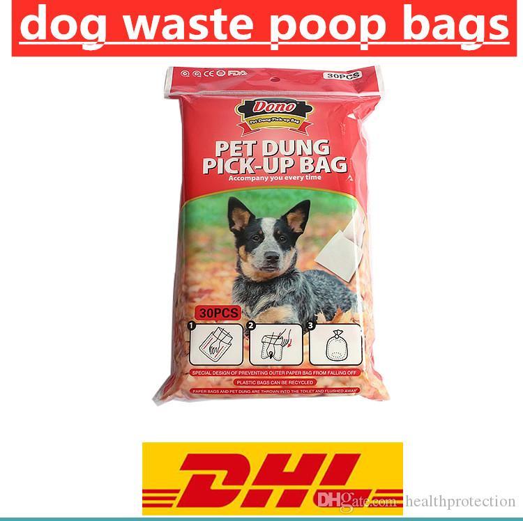 30pcs per bag pet poop bags Waste Bags for Dog Poop of Urban Pets Hands Free Pulp flushable Dog Poop Bag Holder