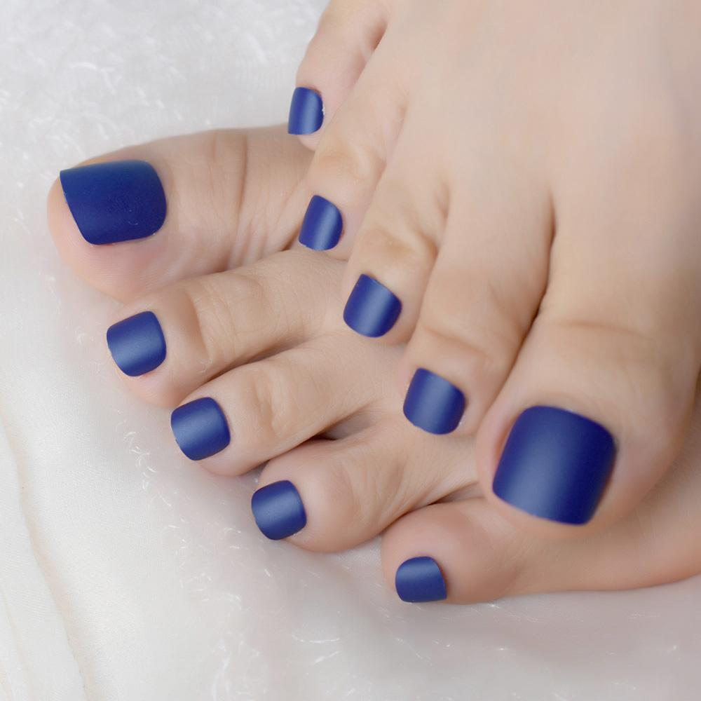 Matte Royal Blue Simple Style Frosted Toe Fake Nails Full Toes Art Tips for Lady Girls Toenails Press on Foot False Nails