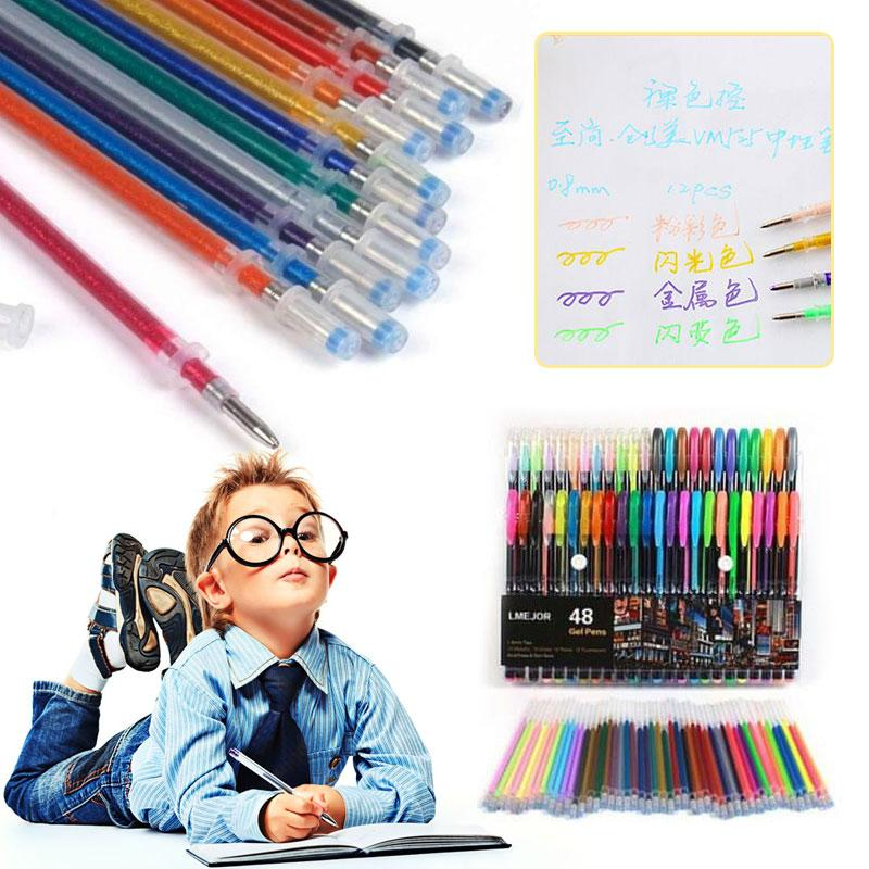 Gel Pen Refills Glitter 48 Colors Coloring Drawing  Craft Markers Stationery TR