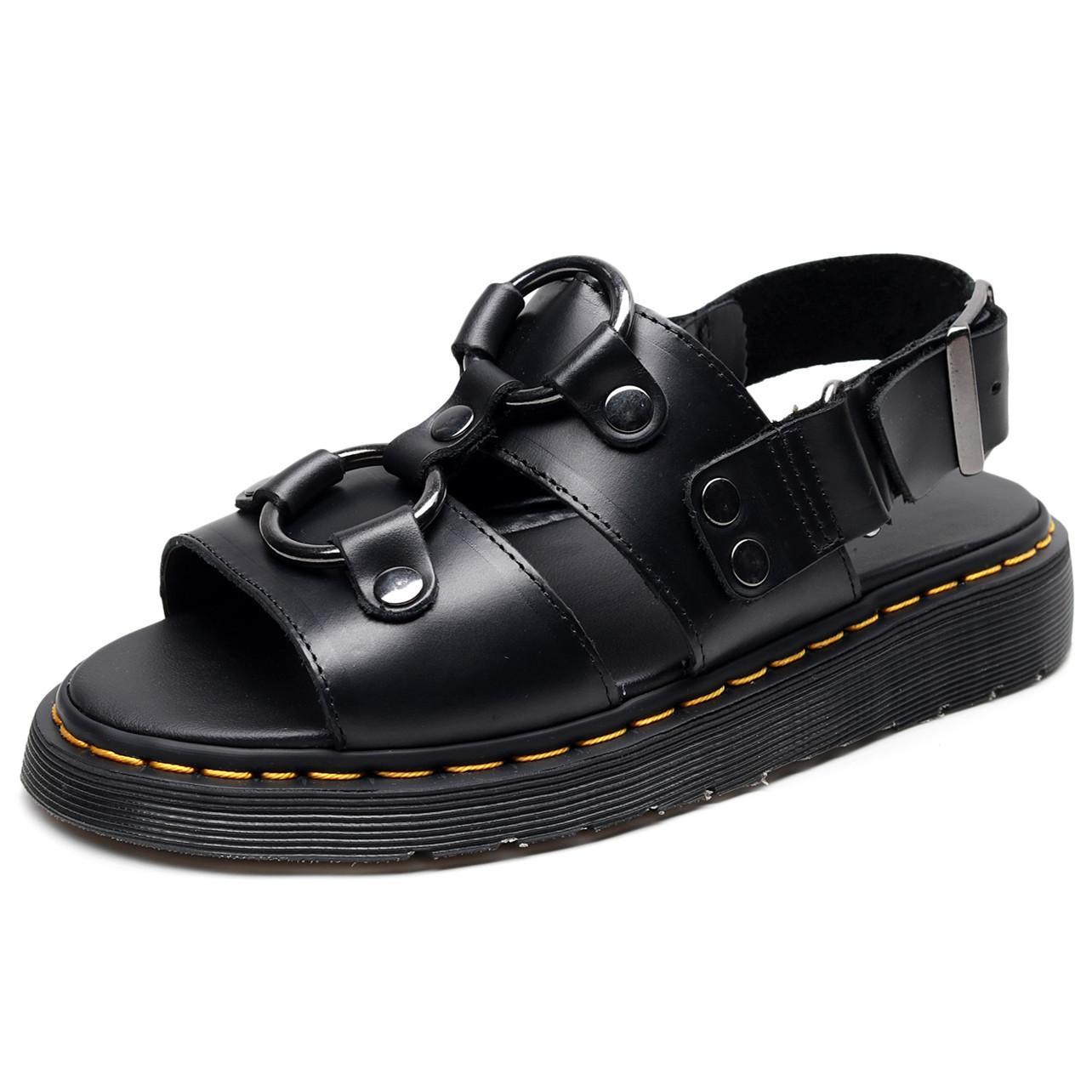 Unisex Cowskin sandali xabiers sandalo di design unico doppio anello metallico sandalo sandali caviglia muscolo della mucca scarpe unica spiaggia