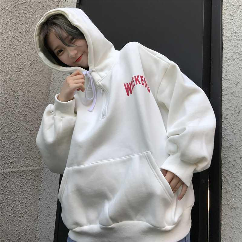 Plus Velvet Sweatshirts Womens Korean Style Harajuku All-match Chic Hoodies Women Letter Printed Loose Hooded Trendy Pockets