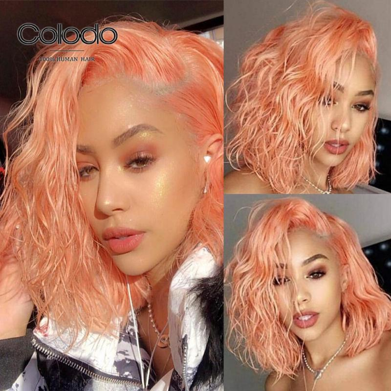 COLODO Water Wave Wig Pre Plucked Pink Short Bob Wigs With Baby Hair Brazilian Remy Ombre Purple Lace Front Human Hair Wigs