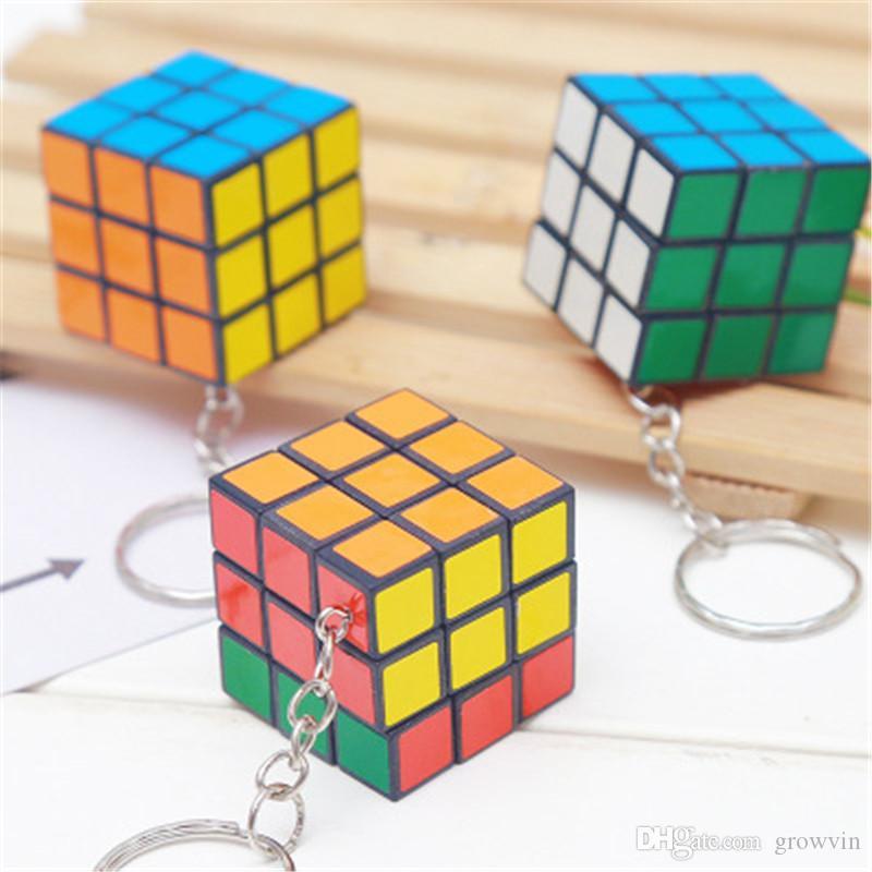 Interesting 3cm Popular Mini Rubik Cube Puzzle Magic Game Key Chain Key Rings