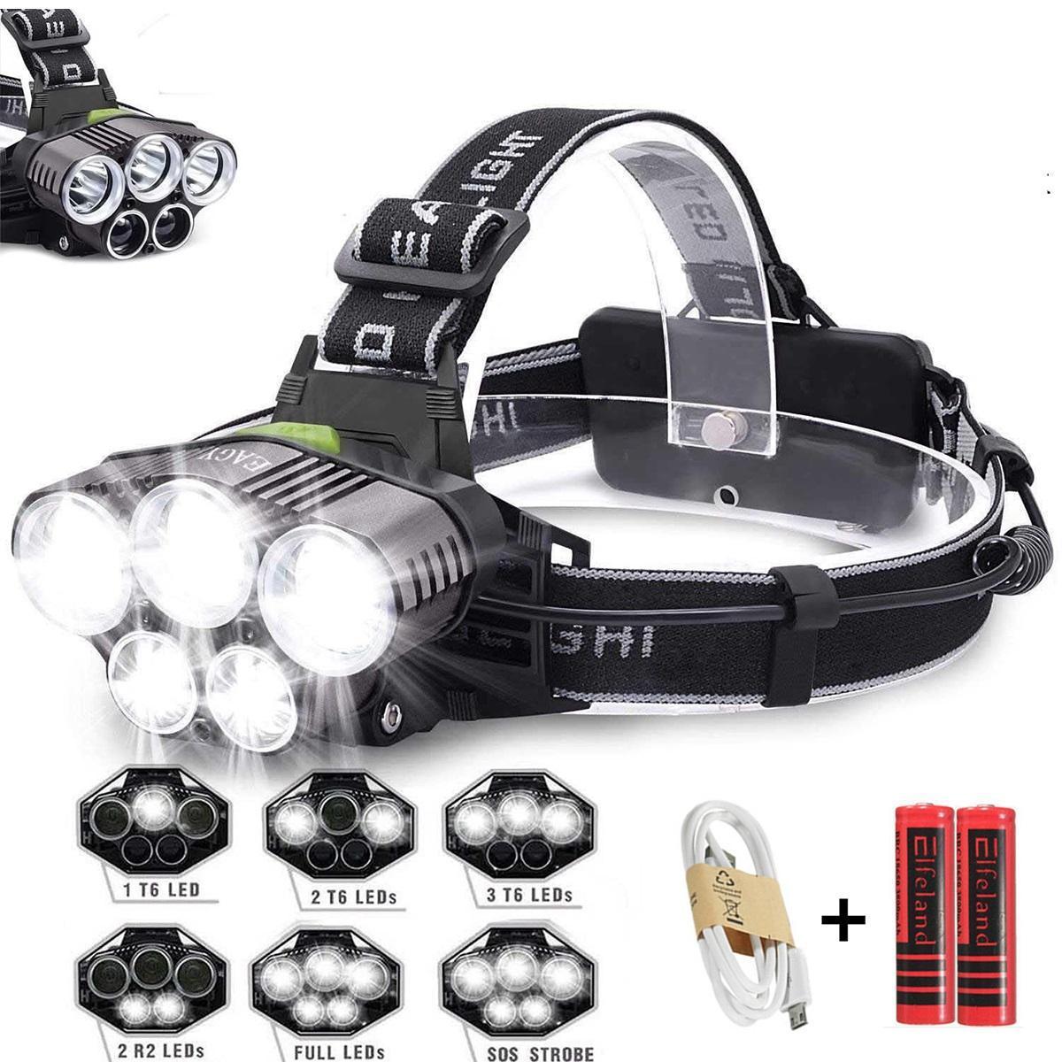 5 Led Far USB şarj edilebilir Far 3 * T6 + 2 * Q5 LED Far ışığı su geçirmez led far Avcılık Işık balıkçılık lamba kullanımı 18650 pil
