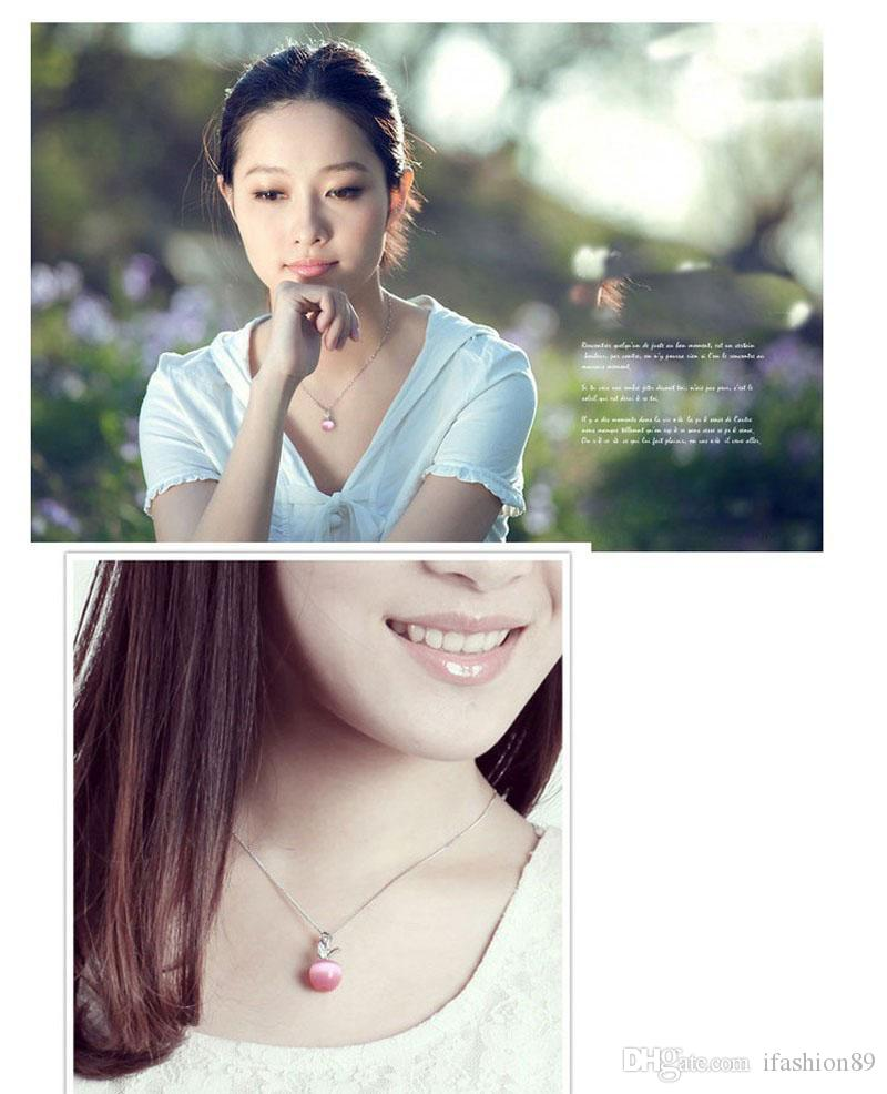 New cute crystal and opal white pink apple pendant necklace for women and girls fashion apple shape jewelry DHL Free