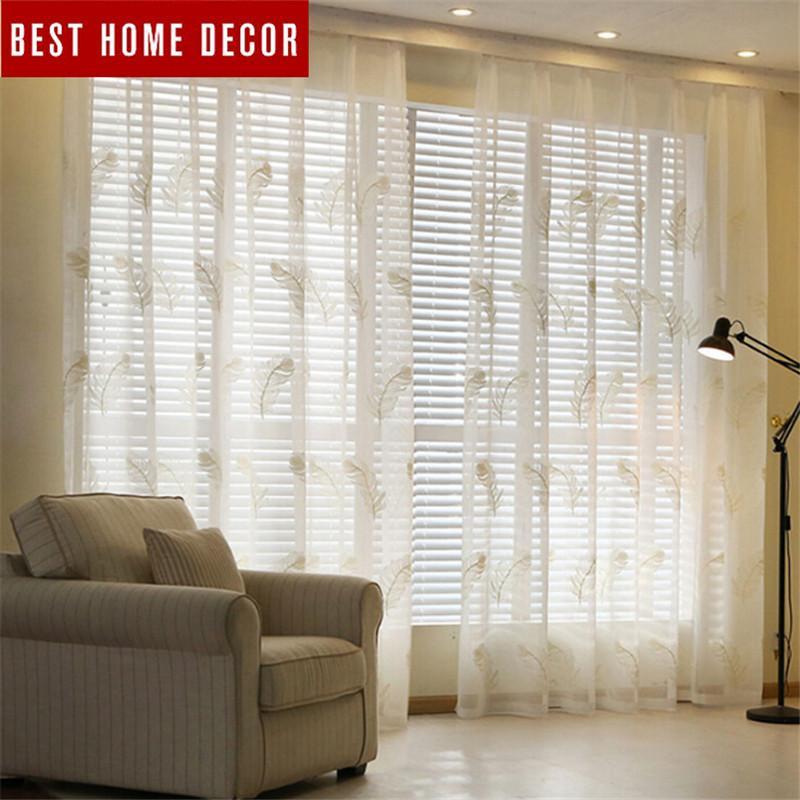 거실에 창 커튼 BHD는 미니멀리즘 자수 얇은 명주 그물의 깎아 지른듯한 침실 현대 얇은 명주 그물 직물 커튼 커튼