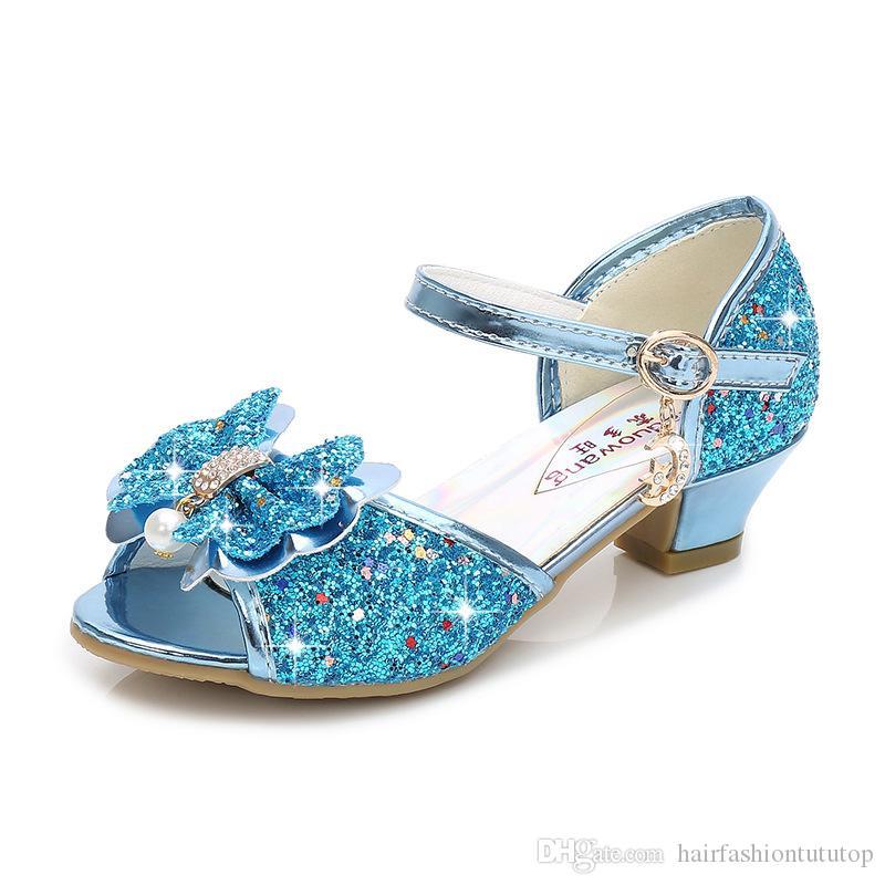 Baby Princess Girls Shoes Sandals For Kids Glitter PU Leather Dance Shoes Wedding Party Costume Dress Up Shoes Enfant meisjes Schoenen PNS02