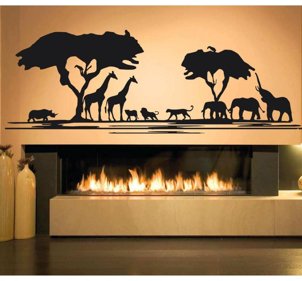 Africa Savanna Animal Tree Wall Decal Home Decor Living Room African Zoo Nursery Kids Room Decor Jungle Animals Stickers