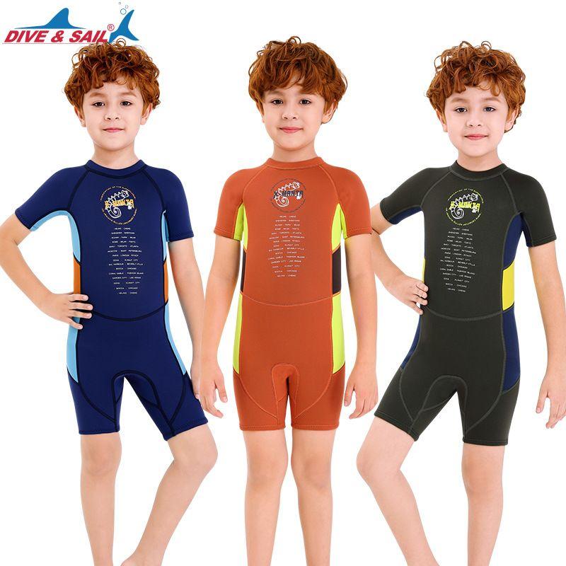 Kids Wetsuit Shorty One-piece Neoprene Suit 2.5mm Back Zip Keep Warm for Swim Surf Dive Scuba Dive Snorkeling Boys Girls