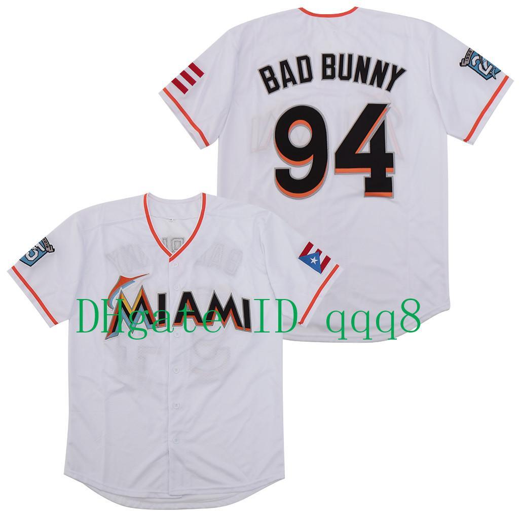 أعلى جودة ! Maimi Bad الأرنب البيسبول جيرسي الأبيض مع بويرتو ريكو العلم الكامل مخيط قميص الحجم S-4XL