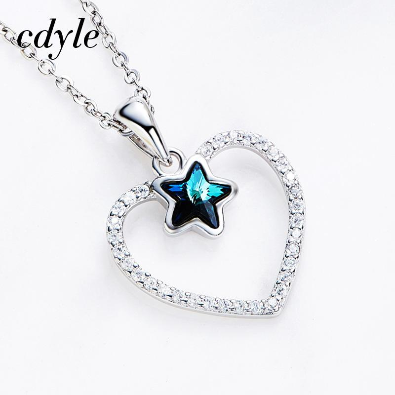 b85754c74 Wholesale Dhgate S925 Sterling Silver Heart Necklace Star Crystals From  Swarovski Charm Pendant Necklace For Women Romantic Love Gifts Glass  Pendant ...