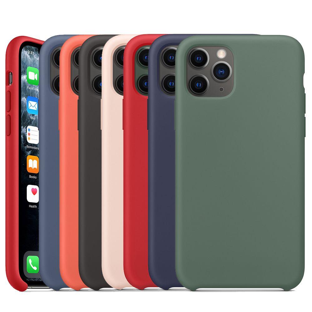 Cilicone أصلي حالة لـ Iphone Se 11 Pro Max Xs Xr X حالة الرسمي Silky ناعم اللمس غلاف لـ iPhone 7 8 زائد 6 مع مربع البيع بالتجزئة