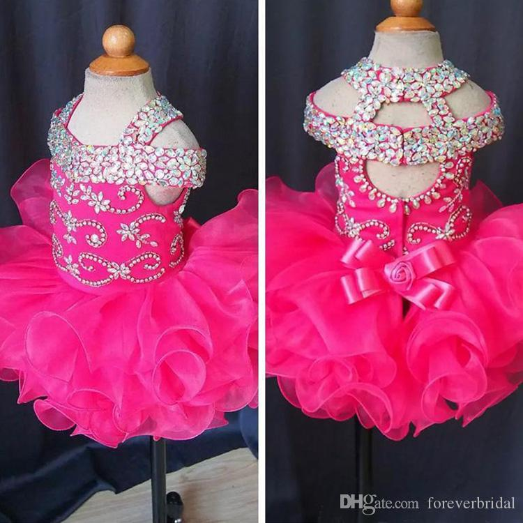Cute 2019 Infant Mini Short Flower Girls Dresses Toddler Kids Ruffles Baby Girls Glitz Crystal Beaded Pageant Cupcake Gowns