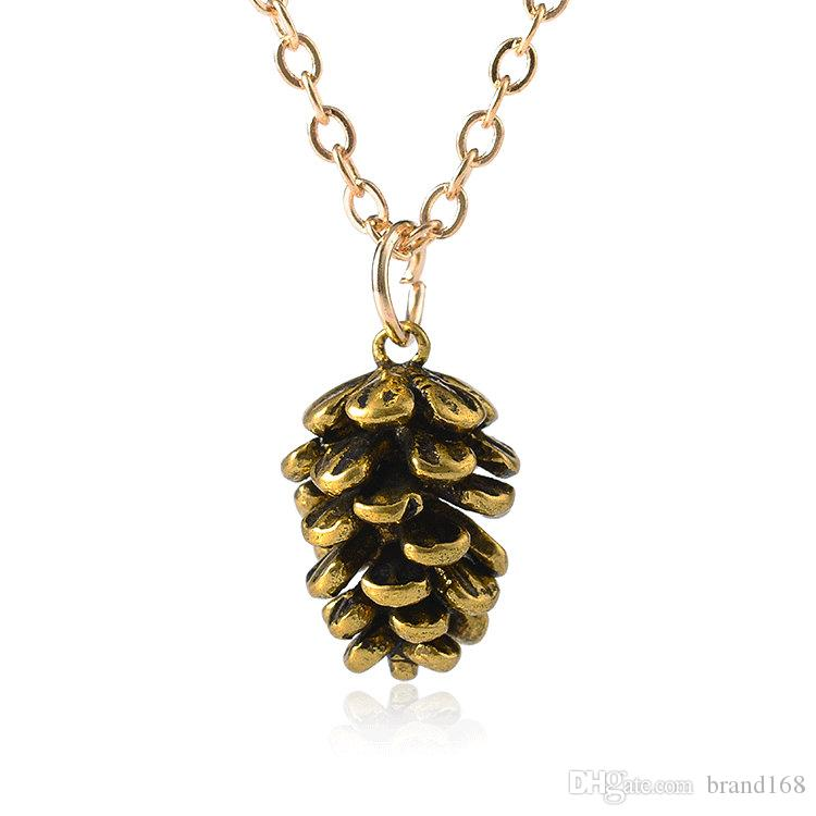 (Бронза) Оптовая цена Продают Простое модное ожерелье из семян сосны. Модный темперамент.