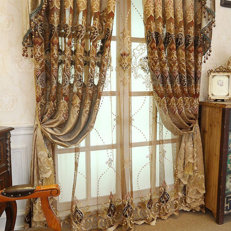 Cortinas europeas para estilos de ventana cortinas para la sala de estar elegante cortinas bordado Europea