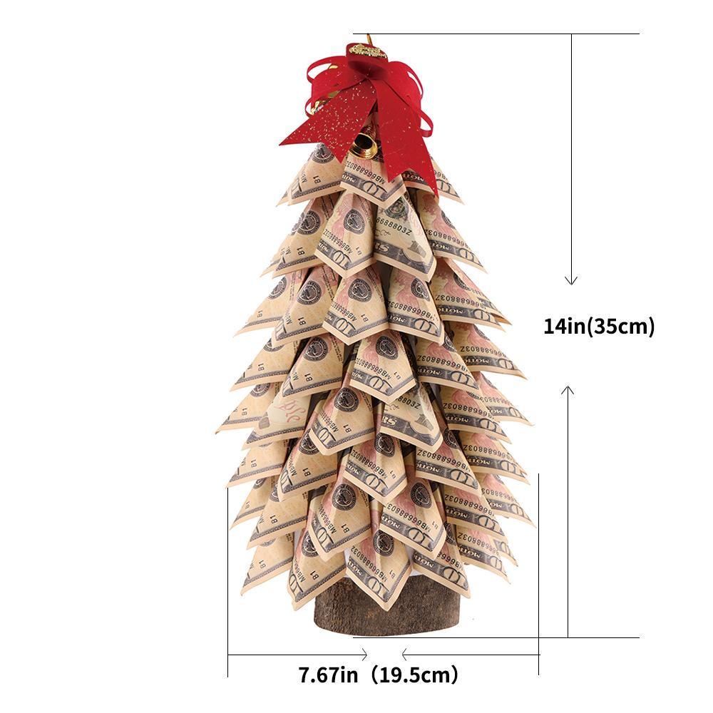 Hecho a mano Topiary verde 10 dólares de dinero del árbol para la decoración del hogar y regalo sorpresa de la Navidad o de recuerdo para los hombres y las mujeres