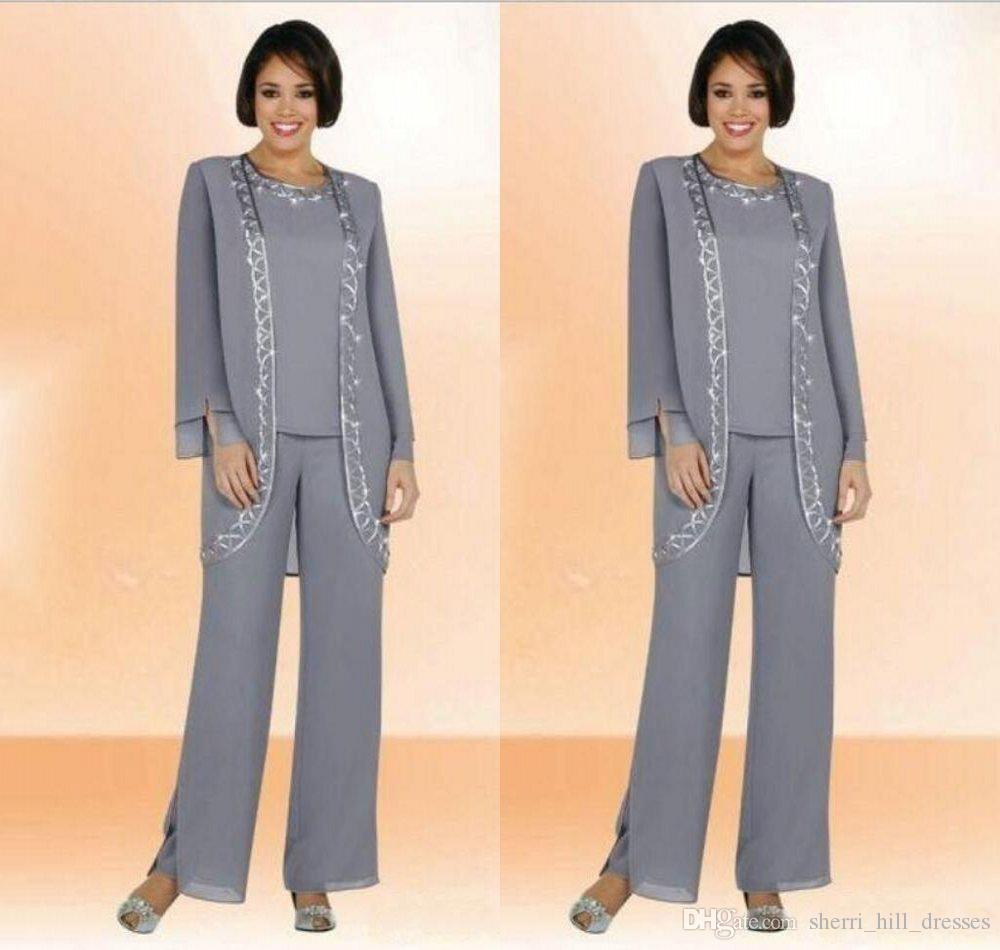 Vintage Silver Long Plus Size Mother Of The Bride Pant Suits With Chiffon Long Sleeve Jacket Embroidery Formal Gowns SH330