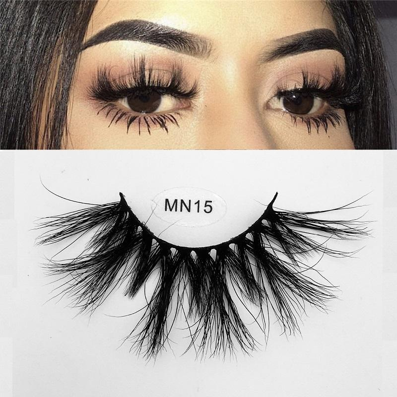 UPS FREE Hot selling 15 styles MN Long Real Mink Eyelash Long Handmade Fluffy Eye Lashes Makeup Thick False Eyelashes with package box