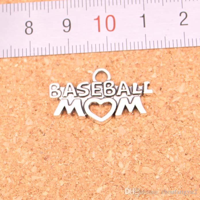 67pcs encantos coração mãe de beisebol antigo prateado pingentes Fazer prata DIY Handmade tibetano Jóia 15 * 27 milímetros