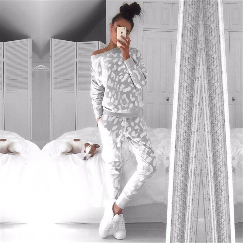 Зима Осень Женская мода Набор одежды Casual Женщины Толстовки Брюки 2 шт Набор Leopard Tracksuit Hoodie вскользь Теплый костюм