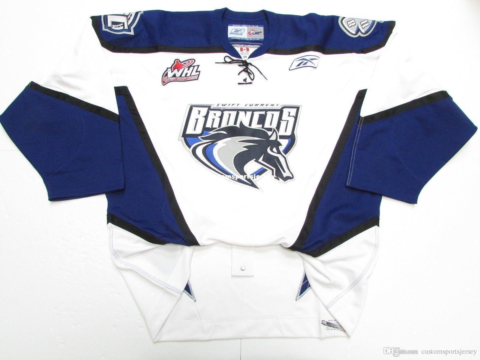 personalizado SWIFT CURRENT BRONCOS hockey jersey WHL ponto qualquer número qualquer nome Mens Hockey Jersey XS-5XL