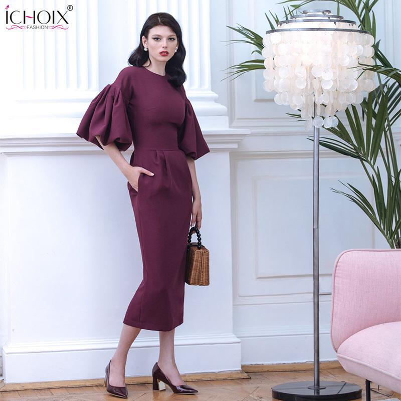 2019 Autumn Long Dress Women Puff Sleeve Female Elegant Evening Party Maxi Dress Pink Red Lady Office Bodycon Long Dress Vestido Y19051102