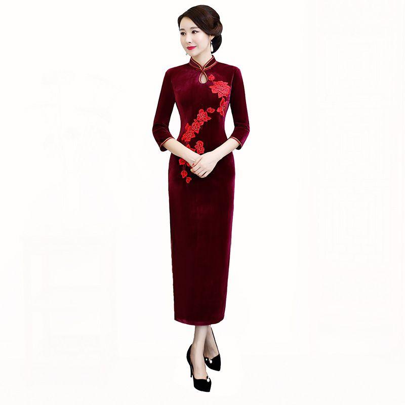New Arrival Chinese Women's Elegant Catwalk Embroidery Velour Lady Qipao Dress Cheongsam Sexy Dress Clothing L XL XXL 3XL 4XL