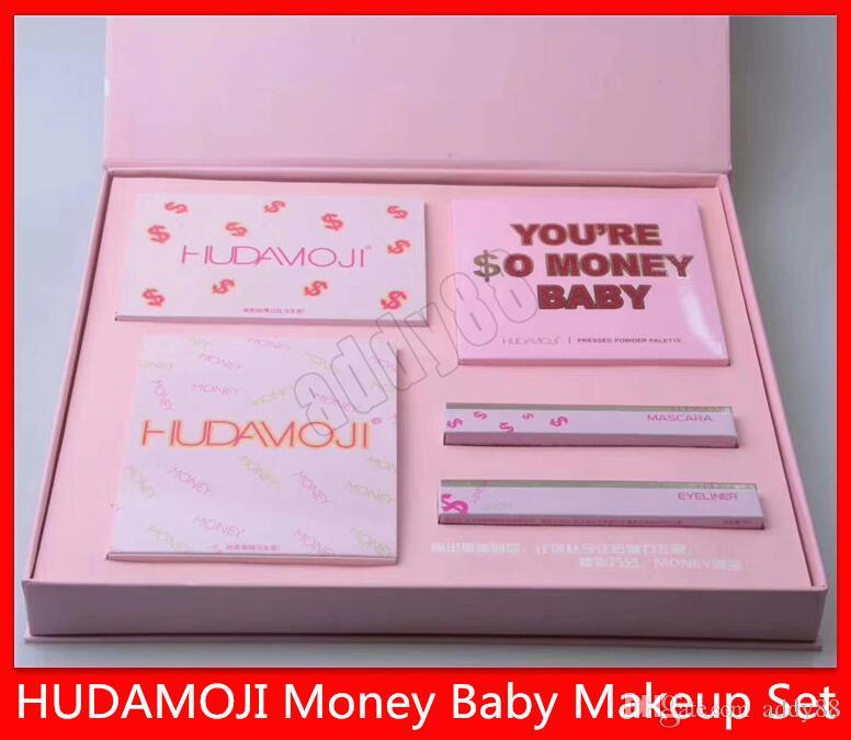 2019 New HUDAMOJI Makeup Set MONEY BABY Makeup Set Eyeshadow Lipstick Lip Gloss Mascara Eyeliner 4 in 1 So Rich Suit Set