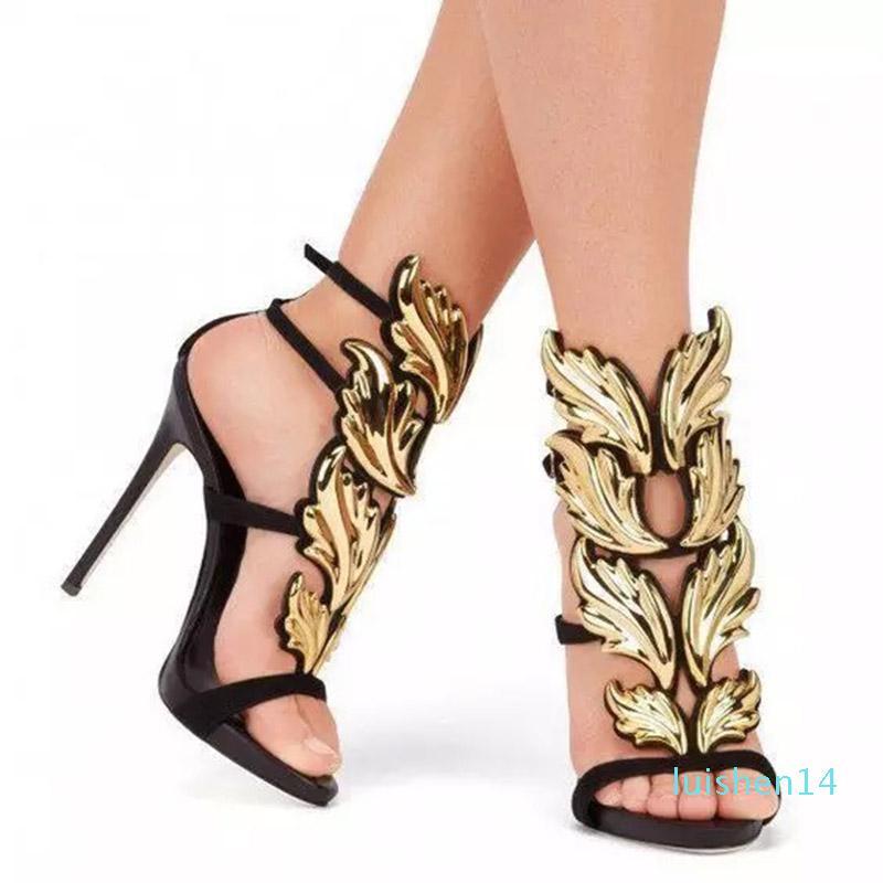Zhenzhou metal Asas Stiletto Super salto alto Open-toe Mulheres Sandálias Roman sandálias 10CM l14