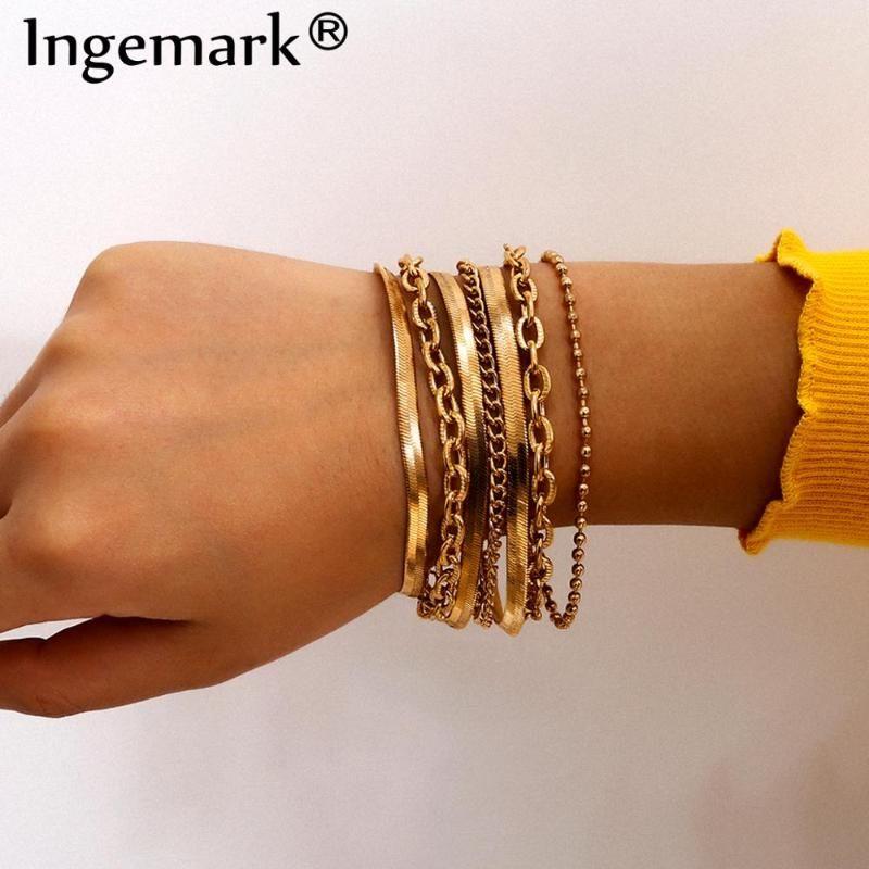 7pcs / set Qualitäts-Punk-Schlange-Ketten-Armbänder Set Frauen Armband Boho Chunky Metall-Verbindungs-Armband-Armband-Mode Hand Schmuck