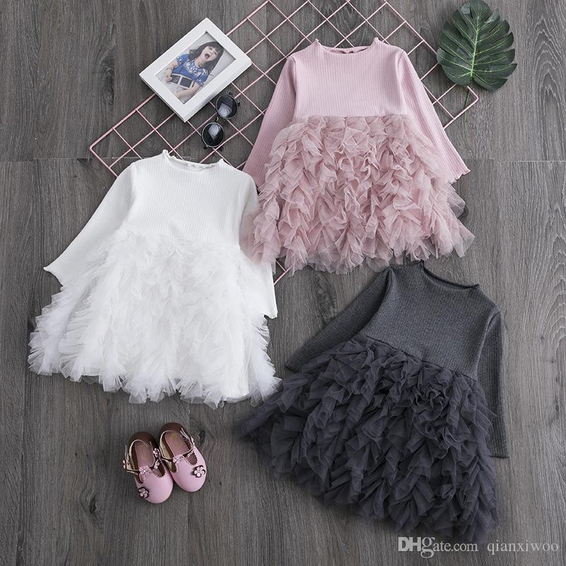 New Spring Autumn Baby Girls Dress Long Sleeve Lace Pleated Princess Dress Children Casual Dresses W416