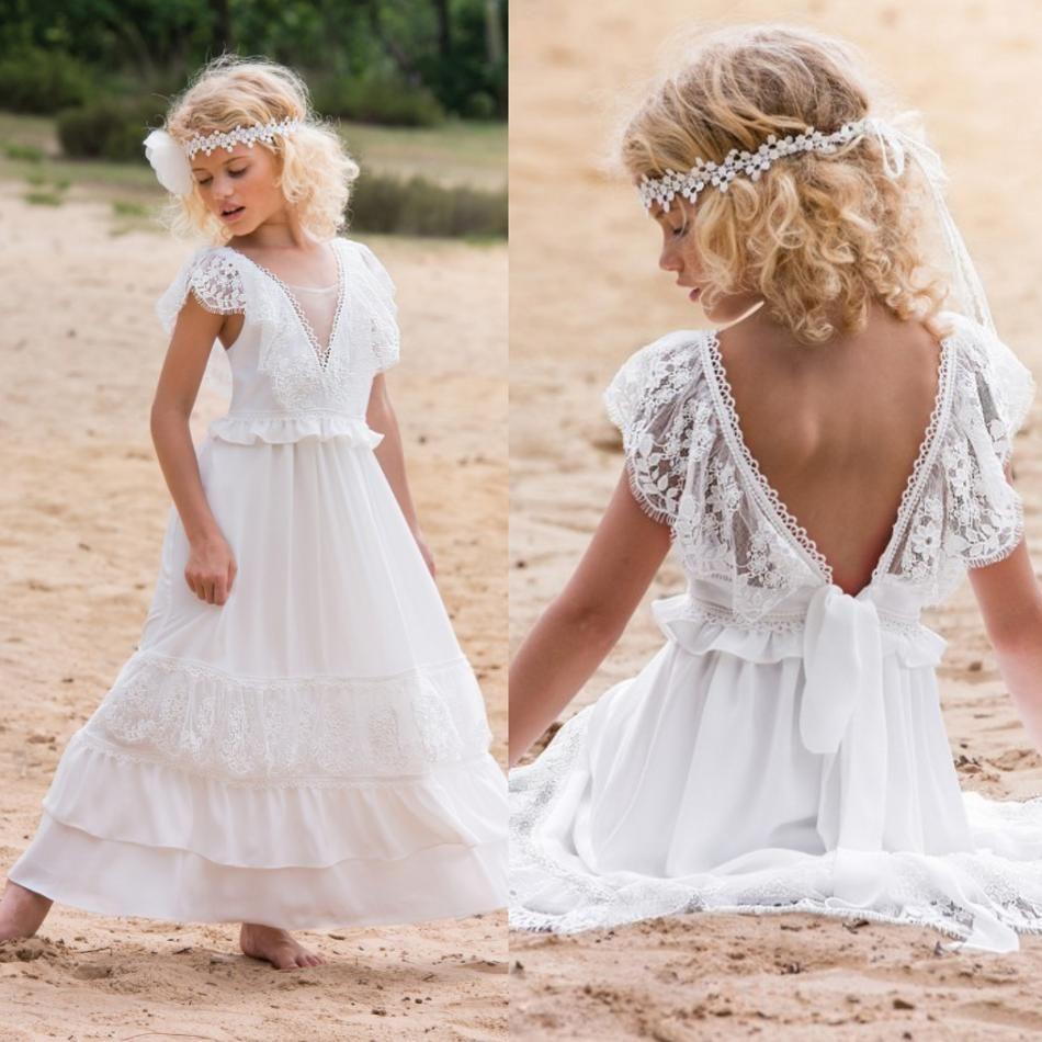 Beyaz Bohemian Çiçek Kız Elbise 2019 V Boyun Dantel Çocuklar Örgün Giyim Kız Pageant Törenlerinde Backless Aplike Kız Elbise