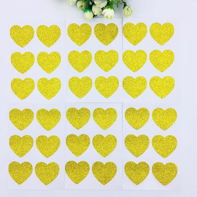 180 Gold Glitter Heart Stickers Wedding Invitation Decoration Gold Wedding Favor Engagement Party Sticker Gold Star Stickers