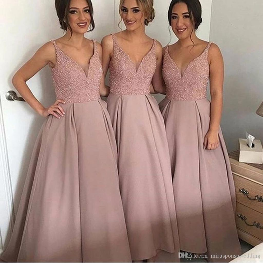 Gorgeous Spaghetti Straps V Neck Maid of Honor Dress Pink Bridesmaid Dress Ideas Ball Gown Satin Wedding Party Dresses 2019