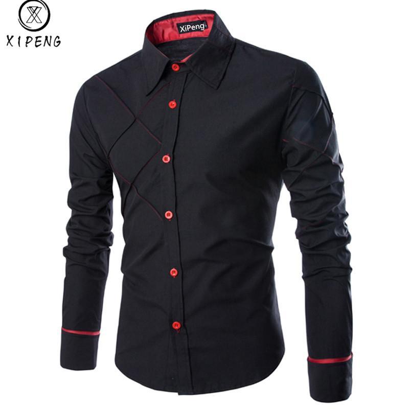 Gli uomini camicia 2020 camicia di vestito degli uomini di affari della molla di nuovo di marca Slim Fit maschile a maniche lunghe a righe Camisa Masculina formato M-3XL