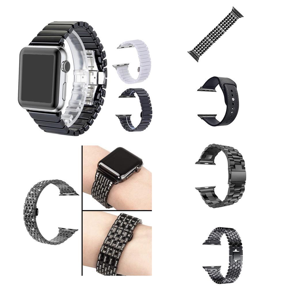 عصابات الماس الأسرة جلدية ألياف السيراميك مقياس الفولاذ المقاوم للصدأ المعادن الفرقة لشركة آبل ووتش المعصم الشريط سوار iWatch سلسلة 5 4 3 2 1