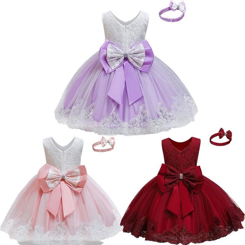Toderer Girl Dress viola vestiti ricamo bambino di 12 metri 3 anni partito abbigliamento