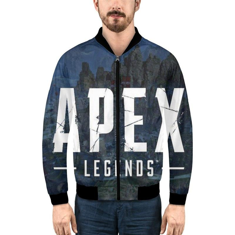 Men Bomber Jacket Fashion APEX Legends 3D Printed Cartoon Zipper Coats Stand-Up Collar Long Sleeves Ribbed Cuffs