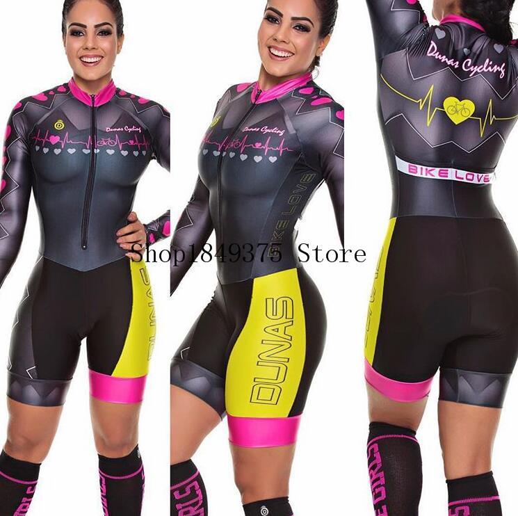 New Pro Team Triathlon Terno de Mulheres Ciclismo Jersey skinsuit Jumpsuit Maillot Ciclismo Ropa Ciclismo gel conjunto de manga comprida