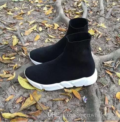 Sıcak Satış-Marka Unisex Günlük Ayakkabılar Düz Moda Çorap Çizme Kadın Yeni Kayma-on Elastik Kumaş Hız Eğitmen Runner Man Ayakkabı Dışarıda 36-47