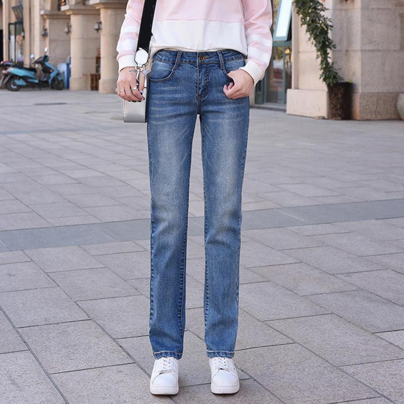 Boyfriend pour les femmes vêtements décontractés taille haute Pantalon droit élastique Femme Taille Plus Pantalons Jeans Loose Women Mom Q2705