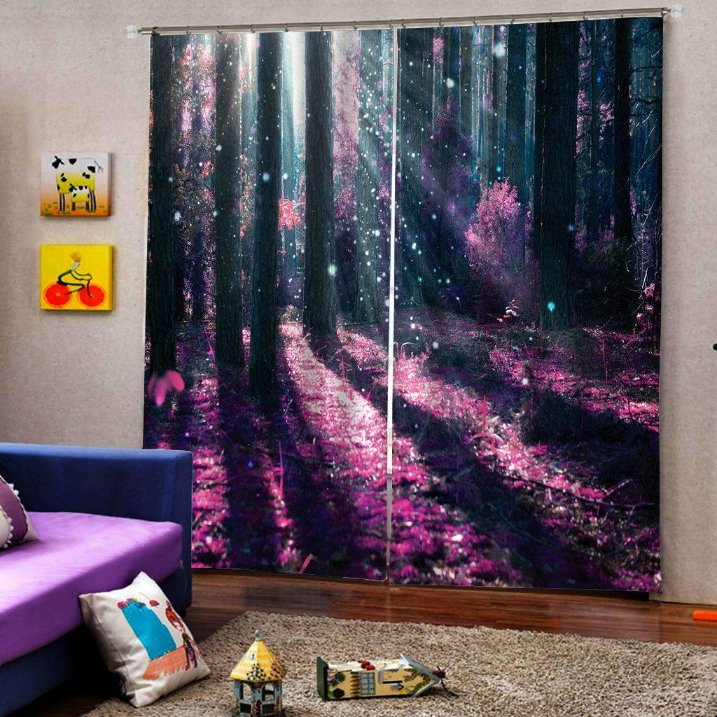 Customized size pink forest curtain Bedroom living room windproof thickening blackout fabric