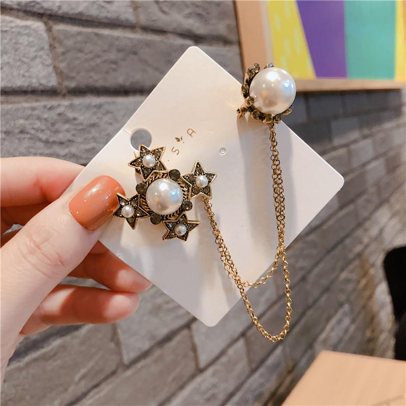 Fashion Pins Brooches Vintage Star Pearl Tassel Brooches Pins for Women for Party Wedding Nice Gift Shoe Chain Clothing Sweater Pins Jewelry