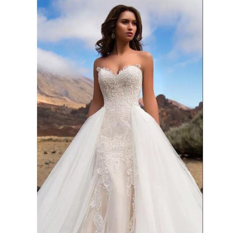 2019 Querida Sereia Rendas Vestidos De Noiva Sem Encosto Lace Up Praia Plus Size Vestidos De Noiva Com As Fronteiras Trem Destacável