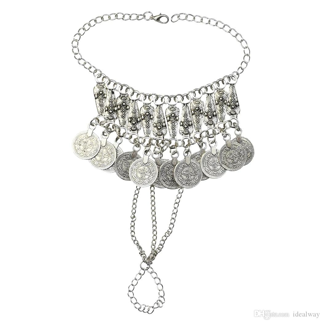 الفضة معدن مهرجان عملة شرابة أساور للنساء البوهيمي الغجر القبلية شاطئ حزب مجوهرات هدايا