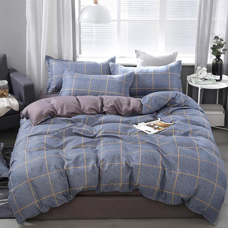 Grey Plaid AB-Side Comforter Bedding Sets 60S Simple style Home Textiles Bedding Double Bed Cover Set for Adult Kid