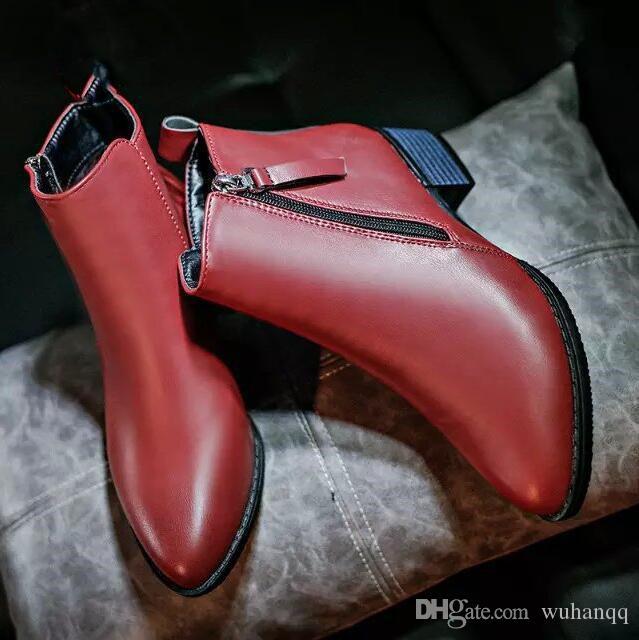 2019 New Autumn Winter Women shoes 암 사이드 지퍼 뾰족한 발가락 Boots Women 발목 Boots Vintage Fashion Martin boots